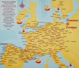 Das europaische Netz des Jakobsweges. Wie der Weg des Wassers zieht er sich erst als kleine Rinnsale, dann als Bäche und zum Schluss als breite Flüsse zum
